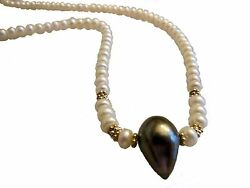 New Unusual Teardrop Tahitian Pearl On Chinese Freshwater Button Pearl Necklace