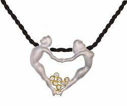 NEW-Dancing Couple Heart Necklace Pendant-Diamonds-solid 18K gold-sterling silve
