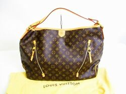 Auth LOUIS VUITTON Monogram Leather Brown Shoulder Bag Hobo Delightful GM #6909