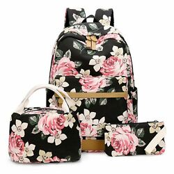 Canvas Students Backpack Casual School Book Bag for Teens Girls Floral Black
