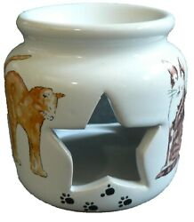 Cats and kittens ceramic Oil Burner for wax melts oils or yankee tarts.