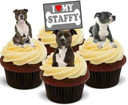 Staffy Staffordshire Terrier Dog Mix - 12 Edible Stand Up Card Cake Toppers