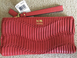 NWT Coach Madison Gathered Leather Zip Clutch Wristlet 46914 Gold Coral