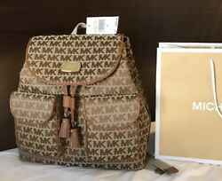 New $298 Michael Kors Jet Set MK Monogram Flap Backpack Designer Handbag Bag