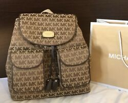 $298 Michael Kors Jet Set MK Flap Backpack Designer Handbag Bag