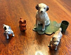 Cold Painted Metal Sculpture dog miniature lot inkwell Germany french bulldog