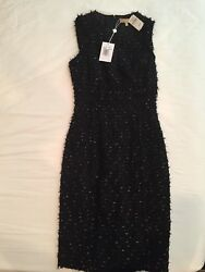 NWT $2450 MICHAEL KORS COLLECTION Black Metallic Shimmer Tweed Sheath Dress Sz 2