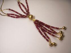 Magnificent 14k Yellow Gold Ruby Bead Drop Necklace