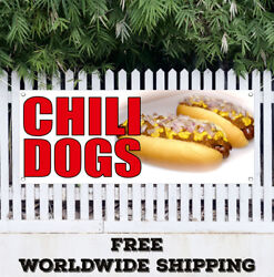 Banner Vinyl Chili Dogs Advertising Sign Flag Mexican Food Tacos Hot Dog Burgers
