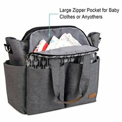 Large Diaper Bags Tote Satchel Messenger for Mom Baby Girls in Grey Arrow Print