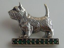 SILVER & REAL EMERALDRUBY AND MARCASITE SET SCOTTIE TERRIER DOG BROOCH.