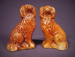 Very Rare 1800s Matched Pair Of Spaniel Dogs Rockingham Glaze Yellow Ware