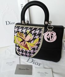 Dior Be Dior Embroidered Leather Top Handle Flap Bag Top Handle Satchel Purse