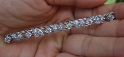 2.20cts European GVS antique vintage long bar brooch pin Platinum 10.4g