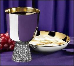 Nickel Plate Last Supper Catholic Altar Chalice And Bowl Paten 16 Oz 6 H Gift