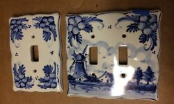 2 Vintage HAND PAINTED DELFT Blue and White Ceramic Switch Plate Covers