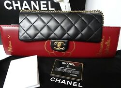 Chanel Brasserie Gabrielle Menu Flap Bag Clutch Lambskin Leather Purse NWT