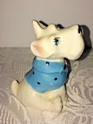 Vtg Scottie Westie Terrier Dog Figurine Japan Blue Polka Dot Sweater Blue Eyes