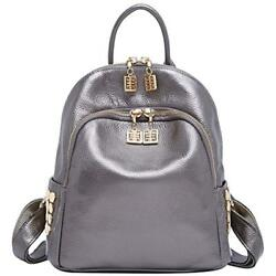 Genuine Shoulder Bags Leather Backpack For Women Travel Girls Mini PursesSilver