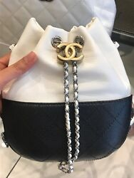 Chanel Gabrielle Purse Bucket Crossbody Bag Black White NWT $4100 Sold Out