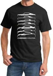 1966-2018 Dodge Charger Evolution Outline Design Tshirt NEW FREE SHIPPING