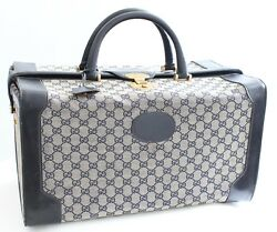 Rare Gucci Doctors Bag Large Duffel Weekender Tote Vanity GG Canvas Leather 70s