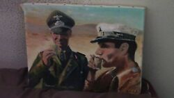 World War 2 Oil On Canvas Rommel. Size 14 By 11.signed Lower Right.