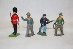 Lot Of 4 Britains Lead Toy Soldier Figurines Scots Guard, Civil War, Boer