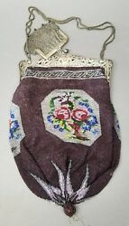 Antique German Micro Beaded Purse 800 Silver Frame And Sterling Silver Coin Pouch