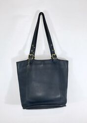 Rare Vintage Coach 9090 XL Navy Blue Leather Legacy Bucket Shoulder Bag