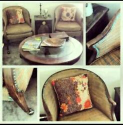 Pair Of Matching Antique Baker Furniture Hollywood Regency Club Chairs 1950s