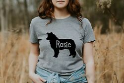 Personalized Border Collie Women's T-Shirt S M L XL  Dog Mom Custom Dog Lover