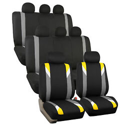 Yellow And Black Premium Modernistic Auto Suv Seat Covers 3 Row Set