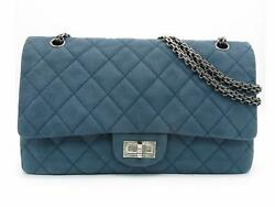 Chanel Chain Shoulder Bag Quilted Caviar Leather Blue SHW 3517