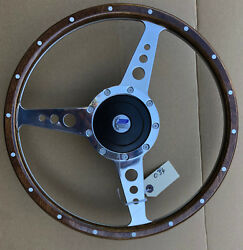 Triumph Spitfire Gt6 Tr6 Traditional Polished Alloy Wood 15 Steering Wheel