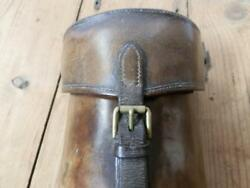 Antique Ww1 Officer Single Block Wallet - Leather Attachment Straps For A Saddle