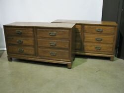 Pair Vintage Asian Style 6 Drawer Dressers By Davis Solid Ash, Teak Finish