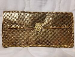 Vintage Whiting and Davis Co. Gold Mesh evening Clutch Purse Made in USA handbag