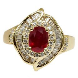 2.37 T.c.w Oval Red Ruby And Diamond Ring 14k Gold