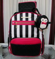 Betsey Johnson Diaper Backpack Striped School Travel Bag Large 3 pc Set NWT $158
