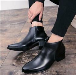 Magic Mens Black Ankle Boots High Top Shoes Pointed Toe Formal Block Heels U49