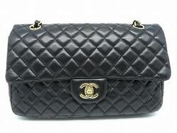 Chanel Matelasse Quilted Lambskin Leather Chain Shoulder Bag Black 7514