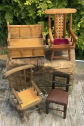 Collection Of Small Vintage Dolls Hand Made Wooden Chairs