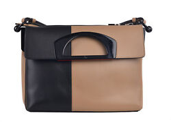 Christian Louboutin Womens Black Tan Smooth Passage Ombre Messenger Bag RTL$2450