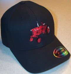 Farmall Cub Tractor Embroidered Black Flex Fit Solid Hat 2 Sizes
