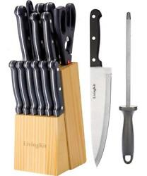 Stainless Steel Kitchen Knife Set 14 Pieces With Wooden Block For Home Cooking