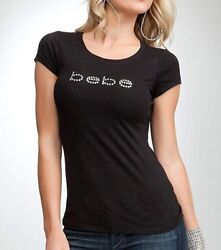 bebe Logo BASIC Rhinestone Black Soft Cotton TShirt Top Adult 0001 R11 $12.25