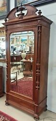 Antique French Walnut Armoire H 102 Beveled Mirror Single Door 3 Drawers