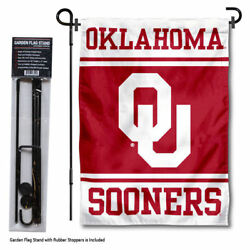 Oklahoma Sooners Garden Flag And Yard Stand Included