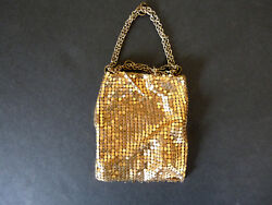 VINTAGE Gold Mesh WHITING and DAVIS USA Chainmail Clutch Evening Bag Disco Purse